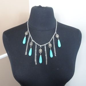 Jewelry - NWOT Turquoise/Silver Tassel Pendant Necklace